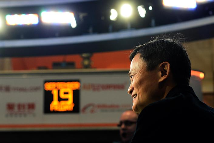 Chinese online retail giant Alibaba founder Jack Ma waits for his company's stock to go live on the floor at the New York Stock Exchange in New York on September 19, 2014 (AFP Photo/Jewel Samad)