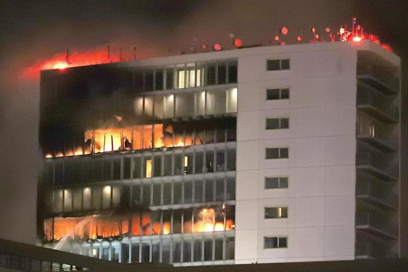 Firefighters were tackling the blazer at the Metro Hotel near Dublin Airport on Wednesday evening (PA)