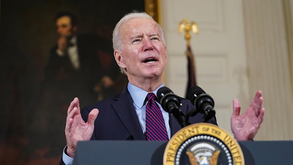 U.S. President Joe Biden delivers remarks on the state of the U.S. economy and the need to pass coronavirus disease (COVID-19) aid legislation during a speech in the State Dining Room at the White House in Washington, U.S., February 5, 2021. REUTERS/Kevin Lamarque