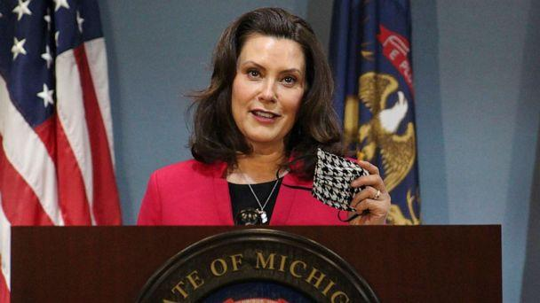PHOTO: Michigan Gov. Gretchen Whitmer speeks during a news conference in Lansing, Mich., May 21, 2020. (Michigan Office of the Governor via AP)