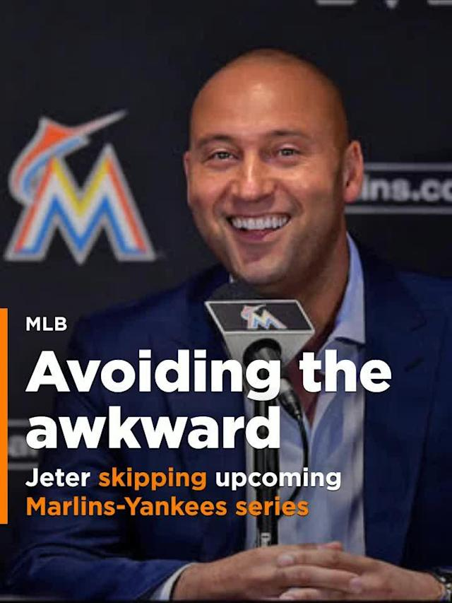 """On Friday, Yankees legend and future Hall of Famer Derek Jeter announced he'll skip the two-game series at Yankee Stadium to avoid what he believes would be an """"awkward situation."""""""