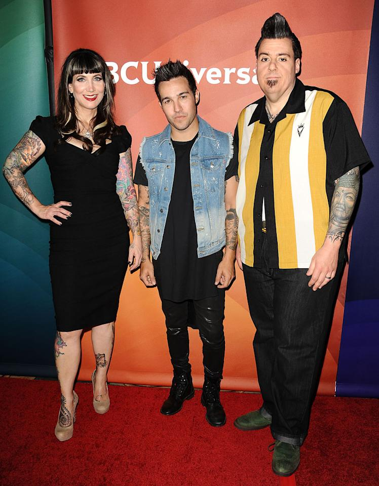 "Hannah Aitchison, Pete Wentz and Joe Copobianco (""Best Ink"") attend the 2013 NBC Universal Summer Press Day held at The Langham Huntington Hotel and Spa on April 22, 2013 in Pasadena, California."