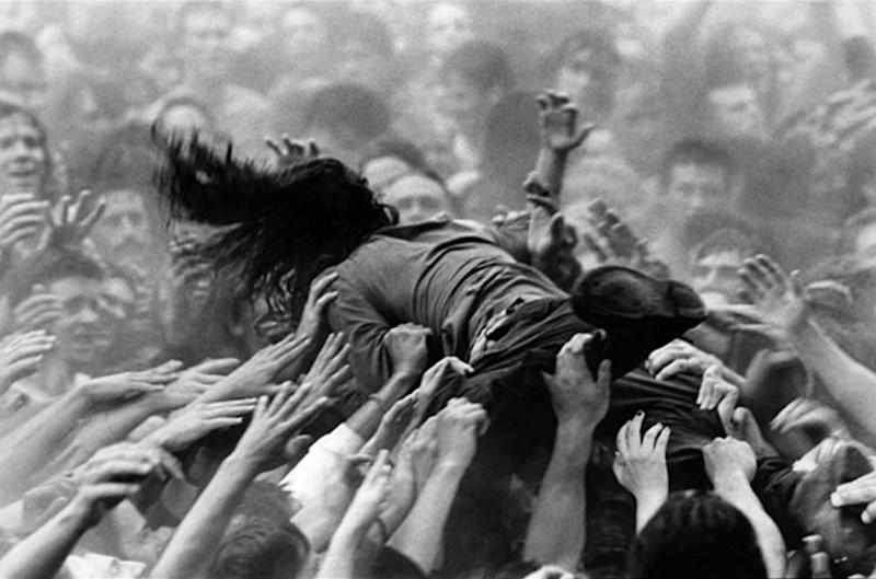 """Chris Cornell at Lollapalooza in Kitsap County, Washington, 1992. Photographed by Lance Mercer and featured in the exhibition """"Grunge: Rise of a Generation,"""" curated by Marcelle Murdock and Casey Fannin-Kaplan. On view at Morrison Hotel Gallery in New York, Maui, and Los Angeles from March 8 through 31, 2019."""