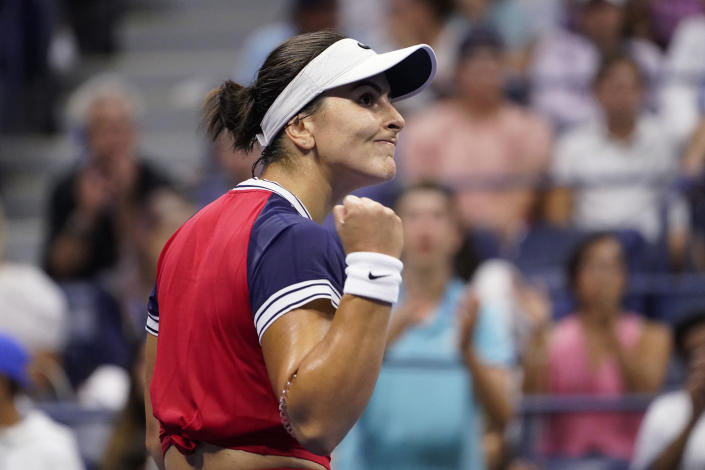 Bianca Andreescu, of Canada, reacts after winning her first set against Maria Sakkari, of Greece, during the fourth round of the US Open tennis championships, Monday, Sept. 6, 2021, in New York. (AP Photo/John Minchillo)
