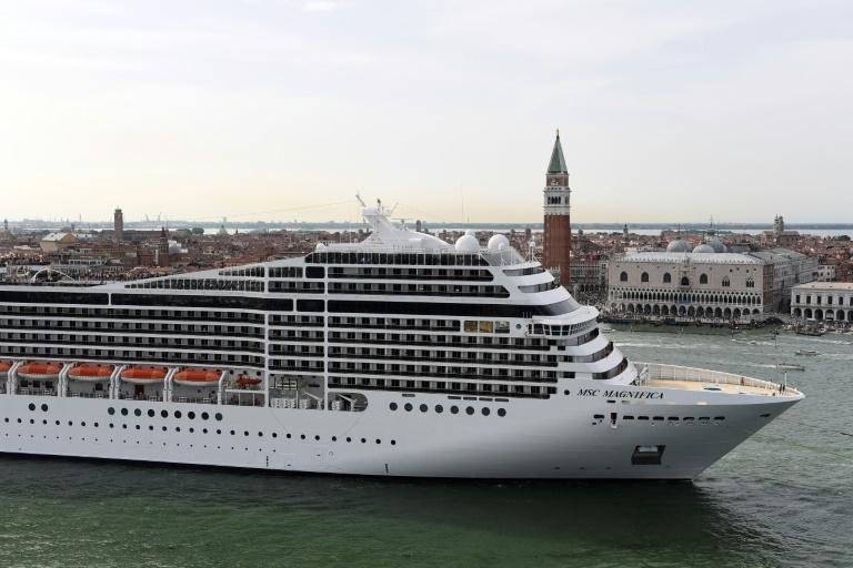 This picture taken on June 9, 2019 shows a MSC Magnifica cruise ship arriving in Venice