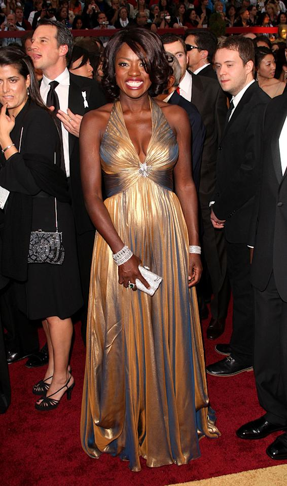 """Viola Davis    Grade: B+       The Best Supporting Actress nominee was, without a """"Doubt,"""" one of the evening's best dressed thanks to her rich Reem Acra halter dress."""