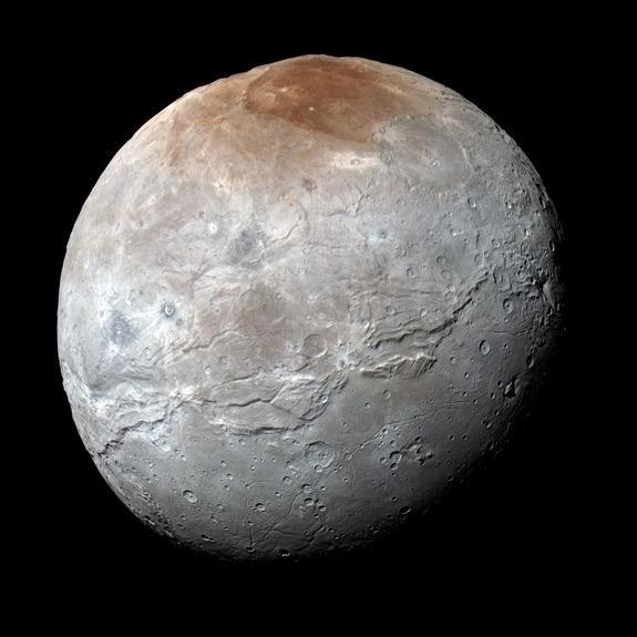 NASA's New Horizons probe captured this high-resolution, enhanced-color view of Pluto's largest moon Charon on July 14, 2015.