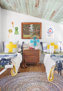 """<p>Inside the camp-inspired treehouse belonging to the family of Joni Lay, there's so much to <em>ooh</em> and <em>ahh</em> over: Vintage items (horse-show ribbons, paint-by-number art, and tiny lawn chairs) are accentuated and contrasted by newer details, such as Army-style cots.</p><p><a class=""""link rapid-noclick-resp"""" href=""""https://www.amazon.com/Tiny-House-Living-Building-Square/dp/1440333165/?tag=syn-yahoo-20&ascsubtag=%5Bartid%7C10072.g.35047961%5Bsrc%7Cyahoo-us"""" rel=""""nofollow noopener"""" target=""""_blank"""" data-ylk=""""slk:SHOP TINY HOUSE BOOKS"""">SHOP TINY HOUSE BOOKS</a></p>"""
