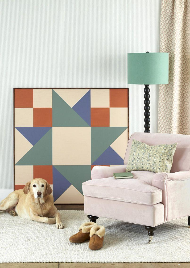 <p>A large-scale piece of painted plywood lends graphic punch to any space. First, cut a piece of plywood to desired size (ours is four feet square). Draw a quilt block (here, Twin Star–style) on the wood with pencil, using a ruler or painter's tape for straight lines, then paint with acrylic paint. Nail strips of 1/2-inch trim along the edges to finish. Lean or hang on the wall.</p>