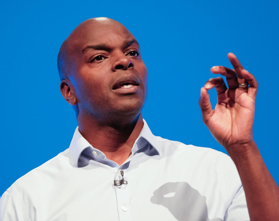 Shaun Bailey, the Conservative candidate for the Mayor of London, delivers a speech on the third day of the Conservative Party Conference at Manchester Central at Manchester Central on 01 October, 2019 in Manchester, England.  Mr Bailey is facing criticism after suggesting people living in temporary accommodations should be able to save up for a housing deposit. (Getty Images)