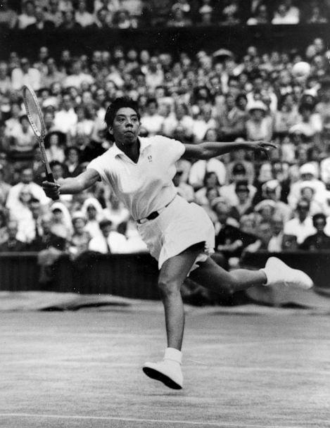 PHOTO:New York's Althea Gibson prepares to volley against Brittain's Ann Haydon during the Wimbledon womens singles semi-final tennis match in the All England Lawn in Wimbledon, England on July 3, 1958. Gibson won 6-2, 6-0, after only 30 minutes of play. (AP)