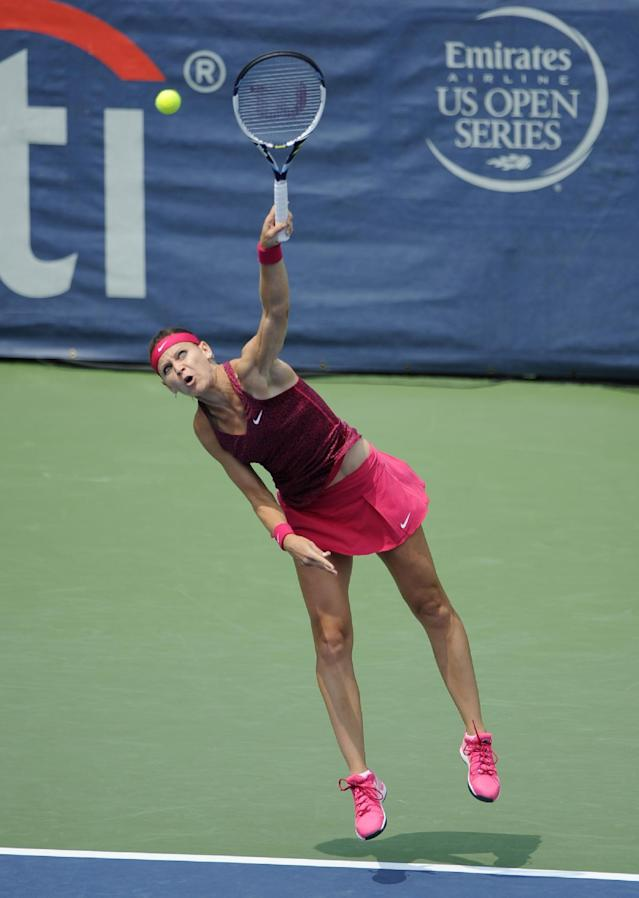 Lucie Safarova, of The Czech Republic, serves to Kristina Mladenovic, of France, during a match at the Citi Open tennis tournament, Tuesday, July 29, 2014, in Washington. (AP Photo/Nick Wass)