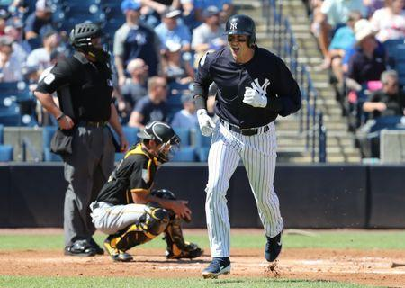 Feb 28, 2019; Tampa, FL, USA;New York Yankees shortstop Troy Tulowitzki (12) reacts as he hits a 3-run home run during the first inning against the Pittsburgh Pirates at George M. Steinbrenner Field. Mandatory Credit: Kim Klement-USA TODAY Sports