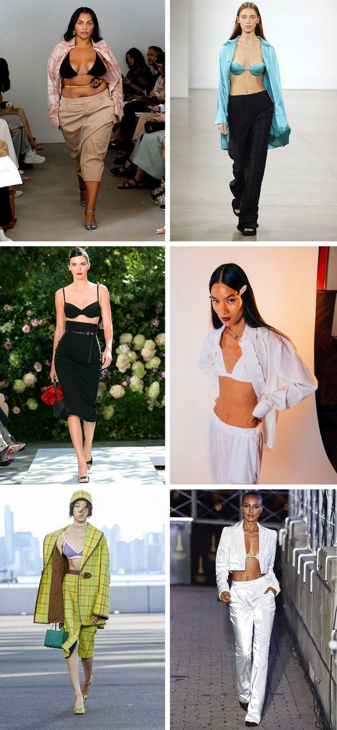<p>The message is clear: Don't wait for summer heat to get your bikini game right. Paired with khakis, pencil skirts, suiting, and more laid-back fare, the bikini top just might be the most versatile piece in your closet come the new year.</p><p><em>Pictured clockwise: Maryam Nassir Zadeh, Bevza, The Academy New York, LaQuan Smith, Coach, Michael Kors Collection.</em></p>