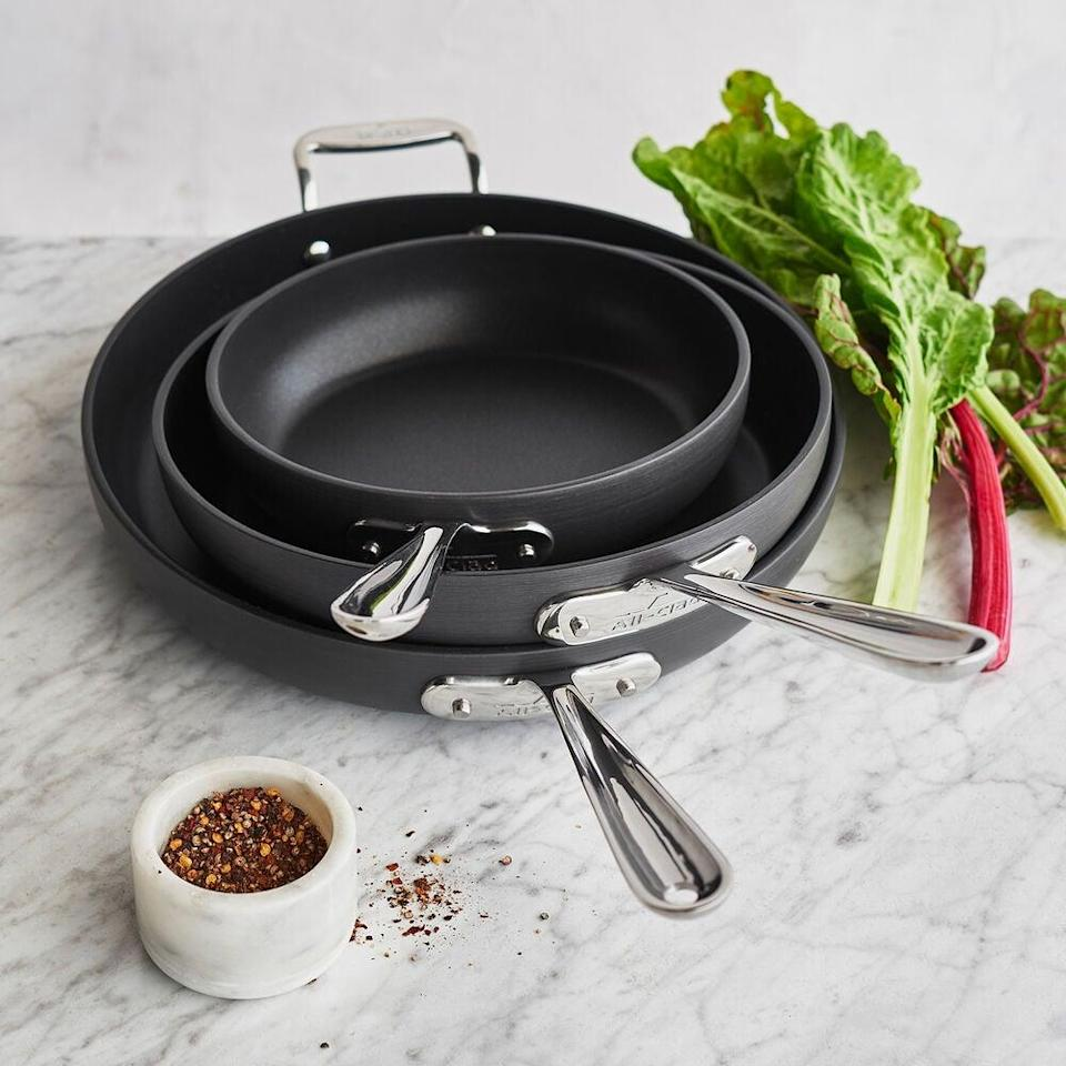 "<br><br><strong>All-Clad</strong> HA1 Nonstick Set Of 3 Skillets, $, available at <a href=""https://go.skimresources.com/?id=30283X879131&url=https%3A%2F%2Fwww.surlatable.com%2Fall-clad-ha1-set-of-3-skillets-8-10-12%2FPRO-3573656.html"" rel=""nofollow noopener"" target=""_blank"" data-ylk=""slk:Sur La Table"" class=""link rapid-noclick-resp"">Sur La Table</a>"