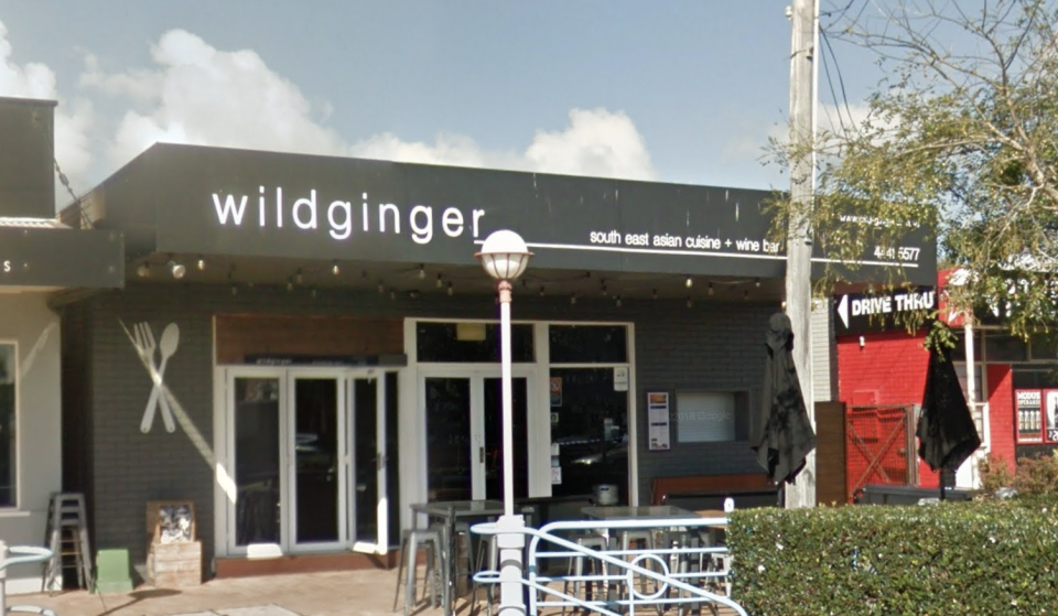 Pictured is a street view of the wildginger restaurant in Huskisson.