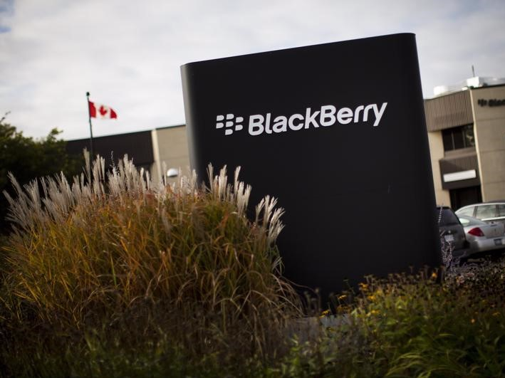 A sign is seen at the Blackberry campus in Waterloo, September 23, 2013.</p> <p>REUTERS/Mark Blinch
