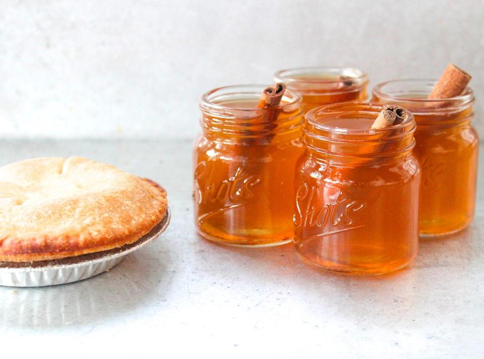 """<p>Infuse your own bourbon for a treat that tastes just like your fave fall dessert.</p><p>Get the recipe from <a href=""""https://www.delish.com/cooking/recipe-ideas/recipes/a43810/apple-pie-bourbon-shots-recipe/"""" rel=""""nofollow noopener"""" target=""""_blank"""" data-ylk=""""slk:Delish"""" class=""""link rapid-noclick-resp"""">Delish</a>.</p>"""