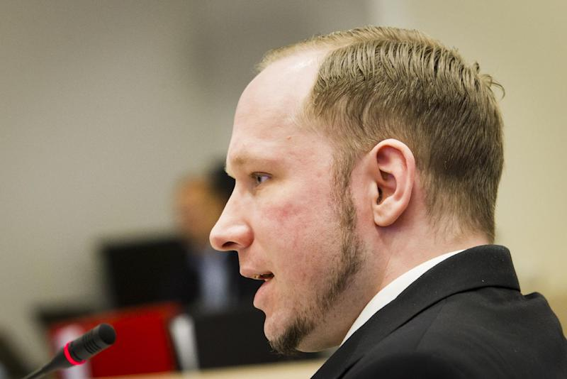 Defendant Anders Behring Breivik seen during the fourth day of proceedings in courtroom in Oslo Thursday April 19, 2012. Confessed mass killer Anders Behring Breivik thought he had only a slim chance of escaping Norway's capital alive after setting off a bomb in the government district on July 22, he told a court Thursday. (AP Photo/Hieko Junge NTB Scanpix. Pool)