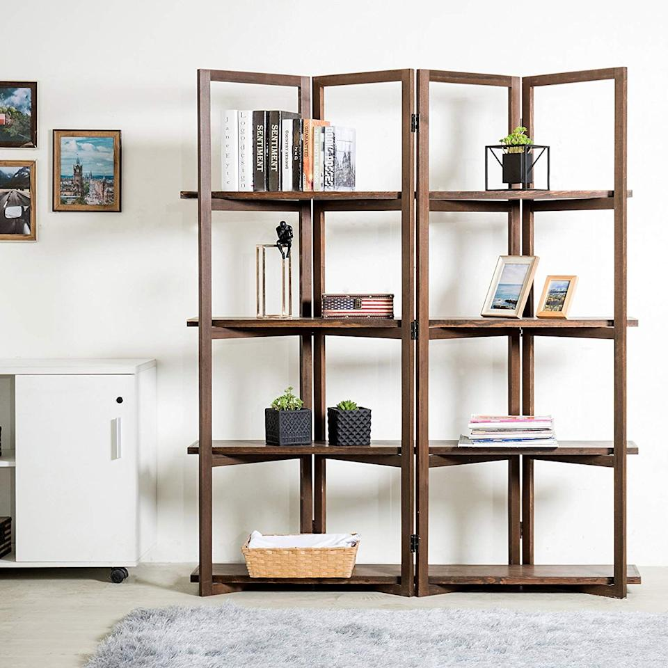 """<h3><a href=""""https://www.amazon.com/Modern-4-Panel-Bookcase-Divider-Display/dp/B073WPW4J9/ref=sr_1_16"""" rel=""""nofollow noopener"""" target=""""_blank"""" data-ylk=""""slk:MyGift Open Bookcase Room Divider"""" class=""""link rapid-noclick-resp"""">MyGift Open Bookcase Room Divider</a> </h3><p>Foldable screen meets open-air storage in this stylish and functional bookcase divider.</p><br><br><strong>MyGift</strong> Open Bookcase Room Divider, $179.99, available at <a href=""""https://www.amazon.com/Modern-4-Panel-Bookcase-Divider-Display/dp/B073WPW4J9/ref=sr_1_16"""" rel=""""nofollow noopener"""" target=""""_blank"""" data-ylk=""""slk:Amazon"""" class=""""link rapid-noclick-resp"""">Amazon</a>"""