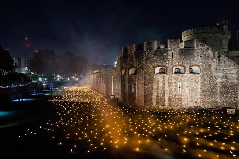 Trial run: the flames alight at the Tower of London (MoD)