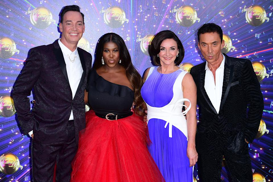 Craig Revel Horwood (left), Motsi Mabuse, Shirley Ballas and Bruno Tonioli (right) arriving at the red carpet launch of Strictly Come Dancing 2019, held at BBC TV Centre in London, UK. (Photo by Ian West/PA Images via Getty Images)
