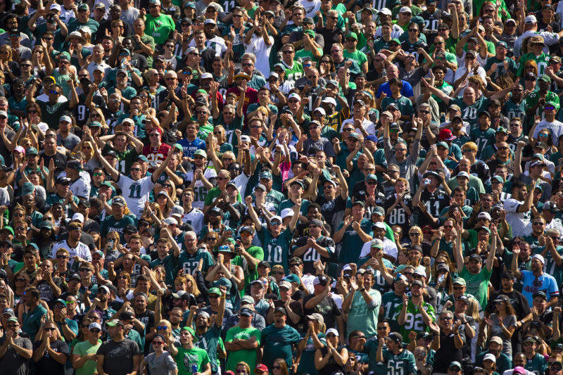 Philadelphia Eagles fans cheer after a play while watching their team face the Washington Redskins during an NFL football game, Sunday, Sept. 8, 2019, in Philadelphia, PA. (AP Photo/Jason E. Miczek)