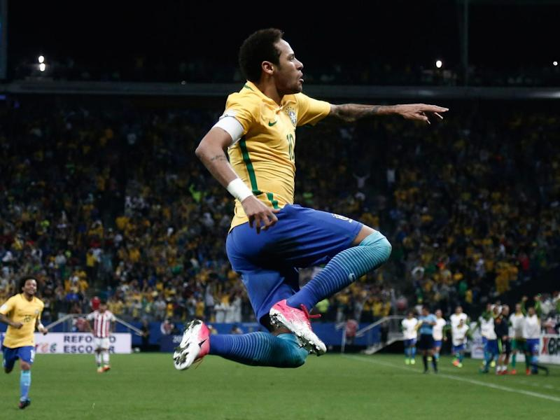 Brazil's forward Neymar celebrates during their 2018 FIFA World Cup qualifier football match against Paraguay in Sao Paulo (Getty)