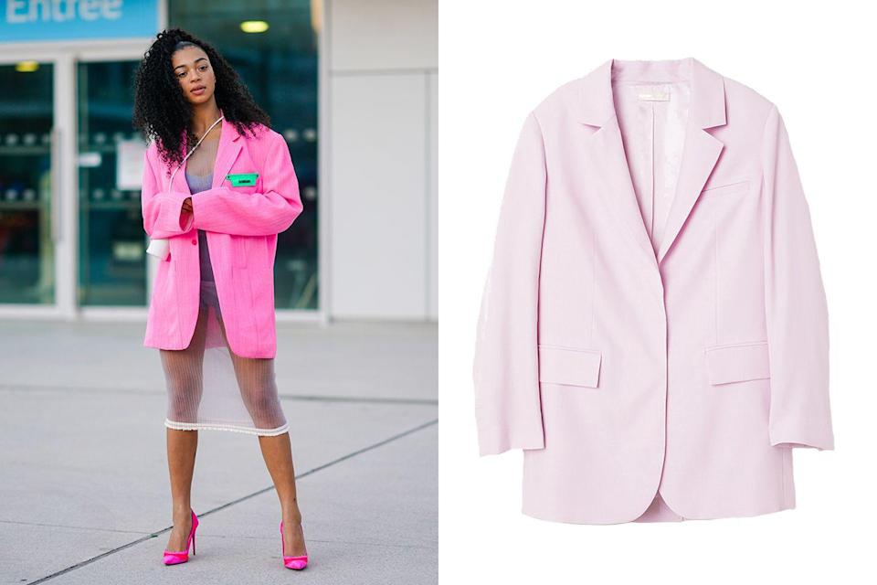 """<p>Bring sexy back with this cheeky pink get-up. Heads will turn when you pair this oversized pink blazer with a sheer and sexy slip dress, leaving a little something to the imagination. Complement the blazer with a pair of matching playful pumps to pull the entire look together.</p><p><em><a href=""""https://www2.hm.com/en_us/productpage.0627360003.html"""" rel=""""nofollow noopener"""" target=""""_blank"""" data-ylk=""""slk:H&M Oversized Blazer"""" class=""""link rapid-noclick-resp"""">H&M Oversized Blazer</a>; $40</em></p>"""