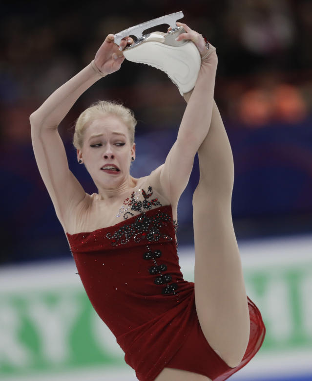 U.S. Bradie Tennell performs during women's short program at the Figure Skating World Championships in Assago, near Milan, Wednesday, March 21, 2018. (AP Photo/Luca Bruno)