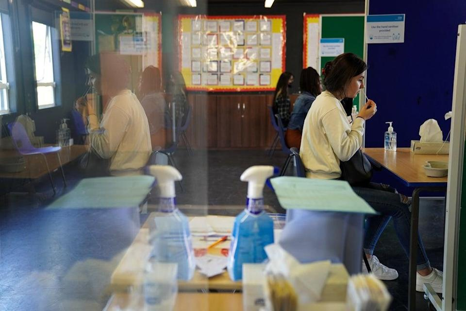 Pupils at Copthall School in Mill Hill, Barnet, are tested for Covid-19 ahead of their return to school (Kirsty O'Connor/PA) (PA Wire)
