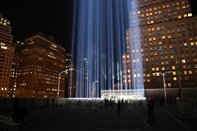 <p>The Tribute in Light rises above the New York City skyline on the roof of the Battery Parking Garage on Sept. 11, 2017, the 16th anniversary of the 2001 terrorist attacks. (Gordon Donovan/Yahoo News) </p>