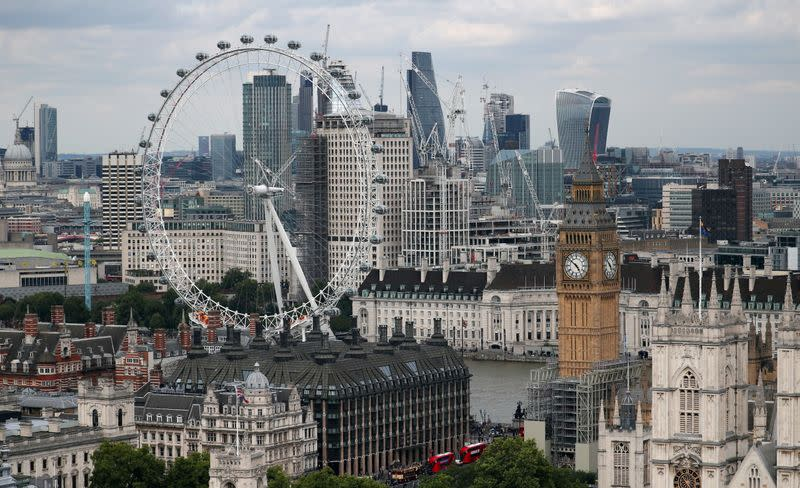 FILE PHOTO: The London Eye, the Big Ben clock tower and the City of London financial district are seen from the Broadway development site in central London