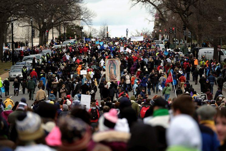 The annual March for Life proceeds up Capitol Hill on Constitution Avenue in Washington on Jan. 27. (Photo: James Lawler Duggan/Reuters)