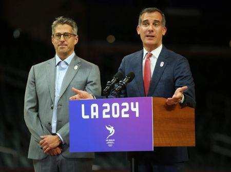 Los Angeles Mayor Eric Garcetti speaks along with LA 2024 Chairman Casey Wasserman during a news conference following three days of meetings and tours with the International Olympic Committee (IOC) Evaluation Commission as part of LA 2024's  bid for the Summer 2024 Olympic Games in Los Angeles, California, U.S.,  May 12, 2017.   REUTERS/Mike Blake