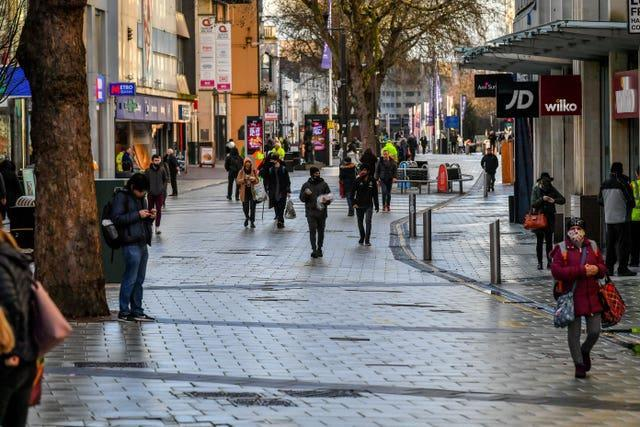 People in Cardiff city centre
