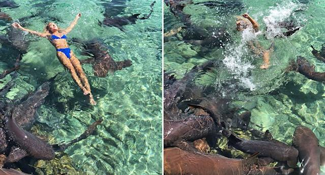 Instagram model Katarina Zarutskie had her boyfriend's dad take a few photos of her swimming with nurse sharks in the Bahamas when one of them attacked her. (Photos: Tom Bates)