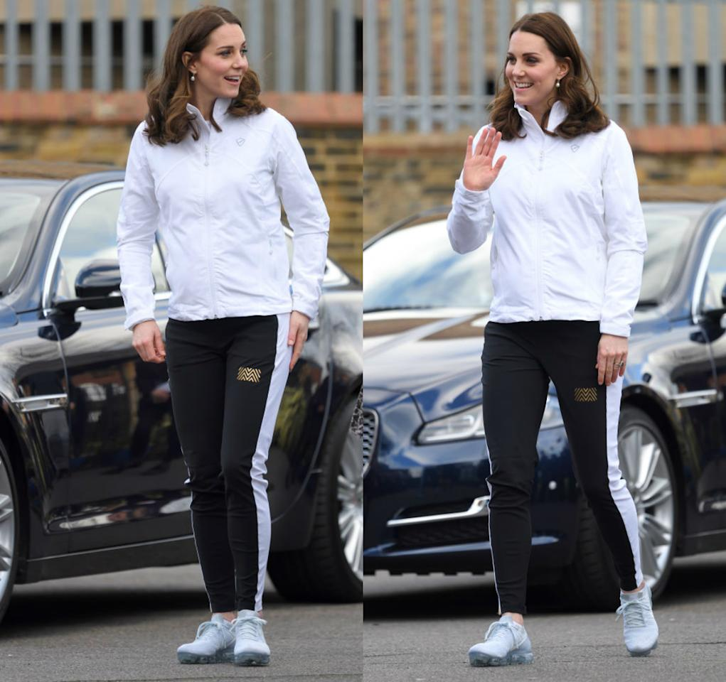 <p><strong>When: Jan. 17, 2018</strong><br />Later, the Duchess checked out Bond Primary School in Mitcham, London, to learn more about the Wimbledon Junior Tennis Initiative. She chicly changed into a fitted £89 ($153 CAD) white Sophia soft shell jacket by PlayBrave and paired it with black and white striped track pants by Monreal London. </p>