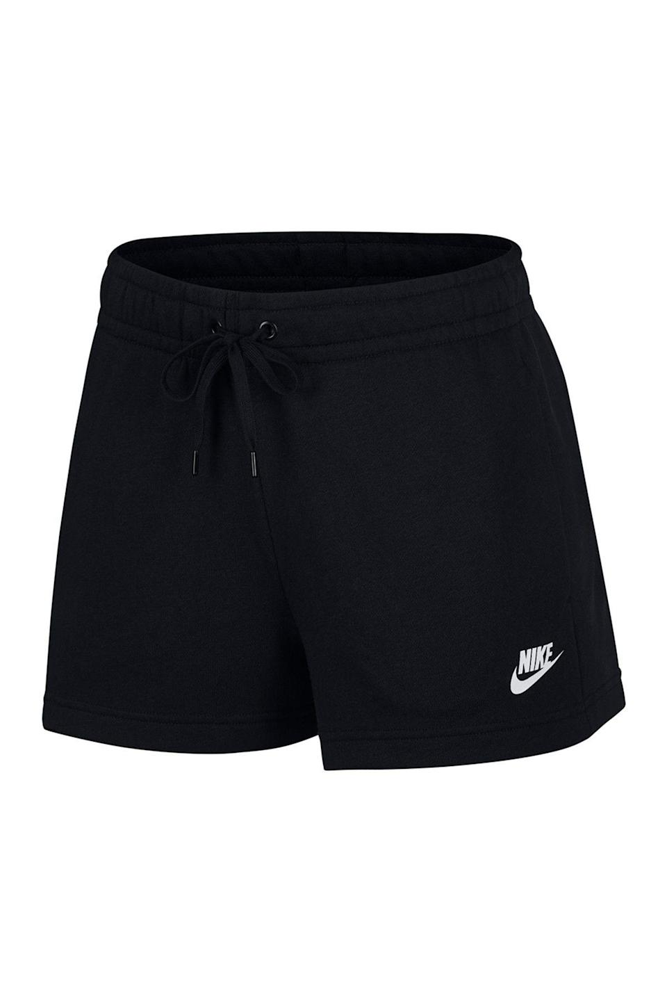 """<p><strong>Nike</strong></p><p>nordstromrack.com</p><p><a href=""""https://go.redirectingat.com?id=74968X1596630&url=https%3A%2F%2Fwww.nordstromrack.com%2Fshop%2Fproduct%2F3098163&sref=https%3A%2F%2Fwww.womenshealthmag.com%2Fstyle%2Fg33534500%2Fnordstrom-rack-nike-sale%2F"""" rel=""""nofollow noopener"""" target=""""_blank"""" data-ylk=""""slk:Shop Now"""" class=""""link rapid-noclick-resp"""">Shop Now</a></p><p><del>$35</del><strong><br>$26.97</strong></p><p>With an elastic waistband and terry fleece material, these shorts are the summer equivalent to your favorite pair of sweatpants. </p>"""