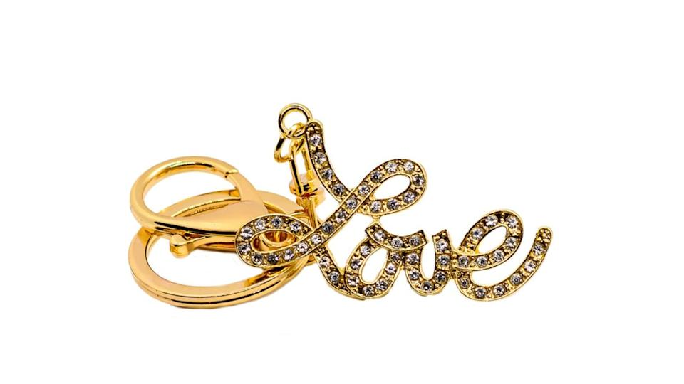 Love Keychain with a sparkle. (Image via Etsy)