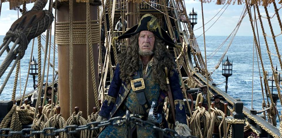 <p>Geoffrey Rush plays Barbossa for the fifth time in 'Pirates of the Caribbean: Dead Men Tell No Tales' (Photo: Disney)<br> </p>  <p>That's the Spirits</p><p> Captain Salazar (Javier Bardem) leads a ghost crew in 'Pirates of the Caribbean: Dead Men Tell No Tales' (Photo: Disney)<br><br> </p>  <p>Depp's Charge</p><p> Johnny Depp reprises his Oscar-nominated role as Captain Jack Sparrow in 'Pirates of the Caribbean: Dead Men Tell No Tales' (Photo: Disney)<br><br> </p>  <p>Bottle Cap'n</p><p> Johnny Depp as Captain Jack Sparrow in 'Pirates of the Caribbean: Dead Men Tell No Tales' (Photo: Disney)<br> </p>  <p>The Way We Were</p><p> Javier Bardem as Captain Salazar in a flashback scene from 'Pirates of the Caribbean: Dead Men Tell No Tales' (Photo: Disney) </p>  <p>The Walking Dread</p><p> The undead Captain Salazar (Javier Bardem) in 'Pirates of the Caribbean: Dead Men Tell No Tales' (Photo: Disney) </p>  <p>Back In Ship Shape</p><p> Javier Bardem as the living Captain Salazar in 'Pirates of the Caribbean: Dead Men Tell No Tales' (Photo: Disney)<br> </p>  <p>Message in a Bottle?</p><p> An image from 'Pirates of the Caribbean: Dead Men Tell No Tales' (Photo: Disney)<br><br><br> </p>  <p>Heat Wave</p><p> A spooky Javier Bardem as Captain Salazar in 'Pirates of the Caribbean: Dead Men Tell No Tales' (Photo: Disney)<br><br> </p>  <p>Sweet Bird of Youth</p><p> Captain Jack Sparrow (Johnny Depp) in a flashback scene, made young with the help of CGI in 'Pirates of the Caribbean: Dead Men Tell No Tales' (Photo: Disney)<br><br><br> </p>  <p>Cool vs. Ghoul</p><p> Geoffrey Rush as Barbossa (left) faces off with Javier Bardem as Captain Salazar in 'Pirates of the Caribbean: Dead Men Tell No Tales' (Photo: Disney)<br><br> </p>  <p>Keep Your Eye on the Sparrow</p><p> Johnny Depp as Captain Jack Sparrow in 'Pirates of the Caribbean: Dead Men Tell No Tales' (Photo: Disney)<br><br> </p>  <p>The New Recruit</p><p> Brenton Thwaites plays Henry, a young sailor, in 'Pirates of the Caribbe