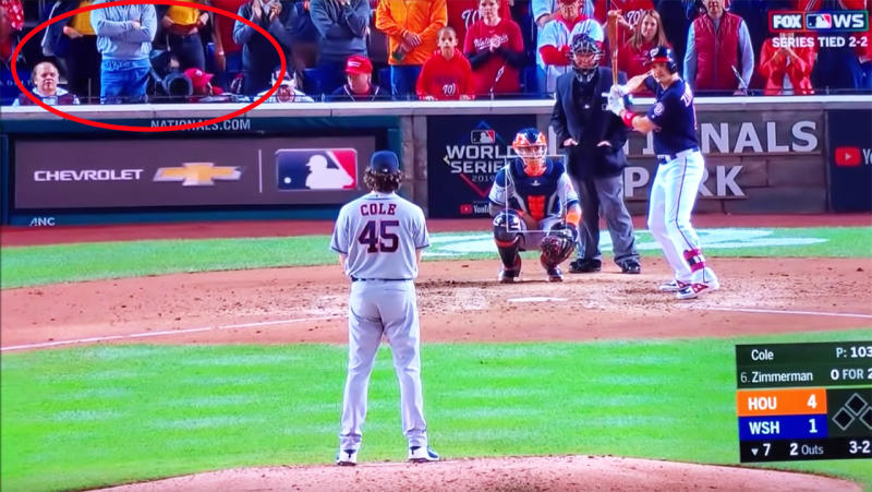 The two women flashed Houston Astros pitcher Gerrit Cole. Image: Supplied