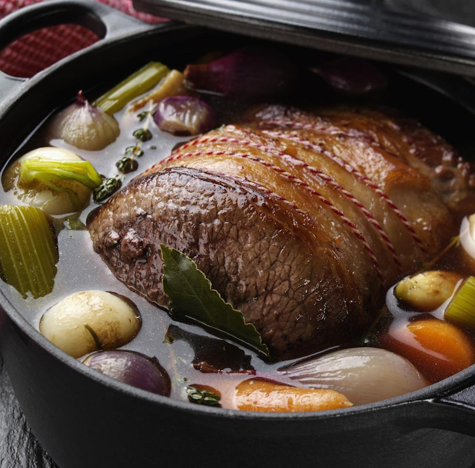 "<p>Pot roast your beef at the weekend and you've got a whole load of meals ready for the week ahead, whether it's as a traditional plate with veg, cut into slices and served with salad and chutney or simply in a sandwich. Try <a rel=""nofollow"" href=""https://www.jamieoliver.com/recipes/beef-recipes/marinated-and-pot-roasted-beef-fillet-with-a-brilliant-potato-and-horseradish-cake/"">Jamie Oliver's recipe here</a>. [Photo: Food and Drink/REX/Shutterstock]<br /> Pot roast from the oven<br /> Food and Drink </p>"
