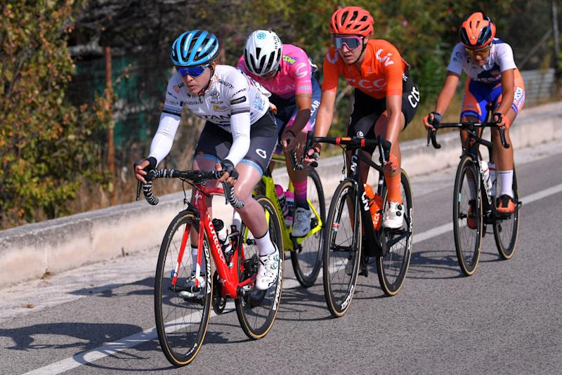 MOTTAMONTECORVINO ITALY SEPTEMBER 19 Arlenis Sierra Canadilla of Cuba and Astana Womens Team Sabrina Stultiens of The Netherlands and Team CCC Liv Laura Tomasi of Italy and Team Top Girls Fassa Bortolo Breakaway during the 31st Giro dItalia Internazionale Femminile 2020 Stage 9 a 1099km stage from Motta Montecorvino to Motta Montecorvino 645m GiroRosaIccrea GiroRosa on September 19 2020 in Motta Montecorvino Italy Photo by Luc ClaessenGetty Images