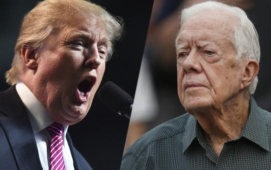 Republican presidential candidate Donald Trump; former President Jimmy Carter. (Photos: Ricky Carioti/The Washington Post via Getty Images; John Bazemor/AP)