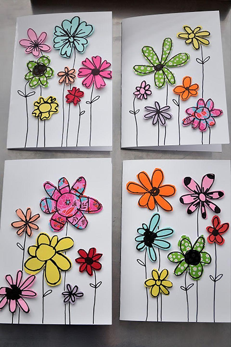 """<p>Use old pieces of scrapbook paper, wrapping paper, or card stock and have the kids draw flowers of all shapes and sizes. The cut-out shapes look absolutely darling on Mother's Day cards.</p><p><strong>Get the tutorial at <a href=""""http://mamaisdreaming.blogspot.co.uk/2015/07/kids-craft-paper-scraps-greeting-cards.html"""" rel=""""nofollow noopener"""" target=""""_blank"""" data-ylk=""""slk:Mama Is Dreaming"""" class=""""link rapid-noclick-resp"""">Mama Is Dreaming</a>. </strong></p>"""