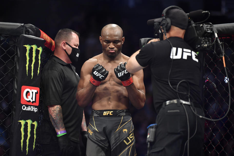 JACKSONVILLE, FLORIDA - APRIL 24: Kamaru Usman of Nigeria enters the Octagon prior to facing Jorge Masvidal in their UFC welterweight championship bout during the UFC 261 event at VyStar Veterans Memorial Arena on April 24, 2021 in Jacksonville, Florida. (Photo by Chris Unger/Zuffa LLC)