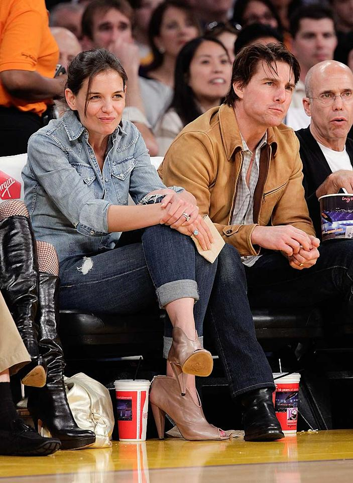 """The <i>National Enquirer</i> reports Tom Cruise was """"livid"""" when Katie Holmes recently accepted the role of Jackie Kennedy for an upcoming miniseries, because the project interferes with his plans for them to have another child. The tabloid says that in exchange for being able to play Jackie O, Holmes agreed she would get pregnant as soon as filming ends. Find out what a source close to the couple says about the pregnancy promise over at <a href=""""http://www.gossipcop.com/katie-holmes-baby-pregnant-tom-cruise-jacqueline-kennedy/"""" target=""""new"""">Gossip Cop</a>. Noel Vasquez/<a href=""""http://www.gettyimages.com/"""" target=""""new"""">GettyImages.com</a> - March 19, 2010"""