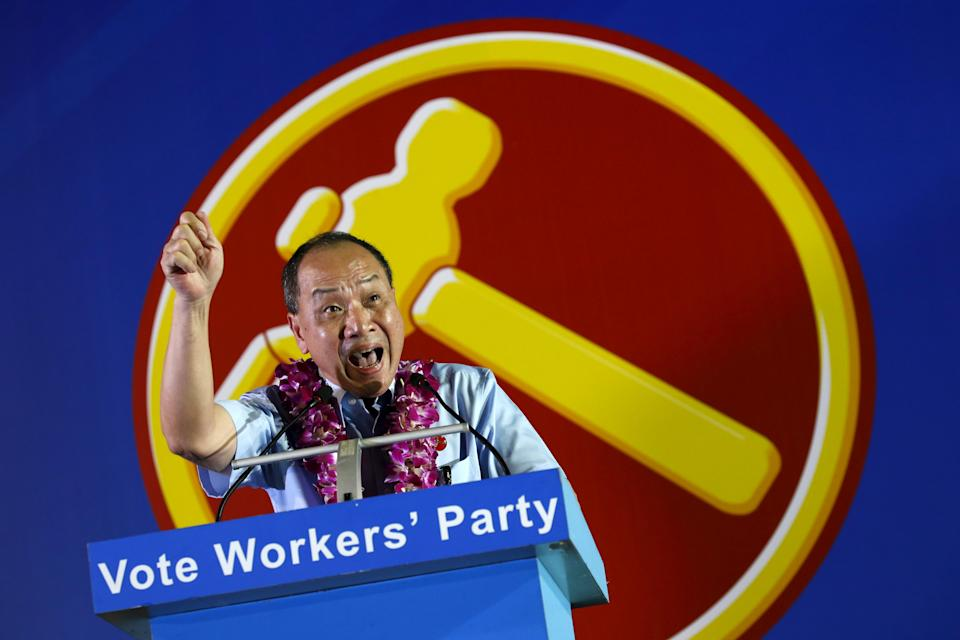 Opposition Workers' Party Secretary General Low Thia Khiang speaks during an election campaign rally in Singapore September 2, 2015. Singaporeans will go to the polls on September 11. REUTERS/Edgar Su