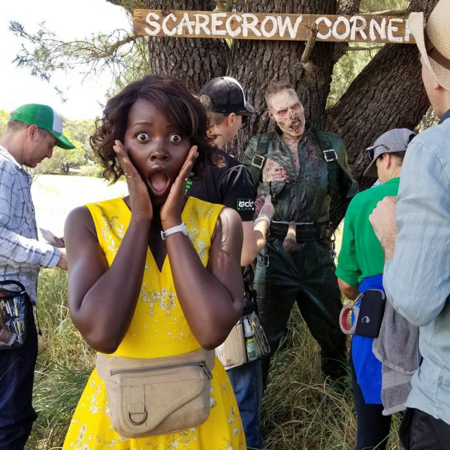 "<p>""What do you get when you put a kindergarten teacher, her class, a musician of little talent, a child performer of lots, and some zombies on a farm?"" the Oscar winner quizzed followers. ""My new movie #LittleMonsters,"" she revealed. ""We are rolling!"" (Photo: <a href=""https://www.instagram.com/p/BbdVEOQDceW/?taken-by=lupitanyongo"" rel=""nofollow noopener"" target=""_blank"" data-ylk=""slk:Luptia Nyong'o via Instagram"" class=""link rapid-noclick-resp"">Luptia Nyong'o via Instagram</a>) </p>"